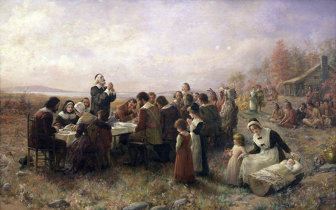 The First Thanksgiving at Plymouth, oil on canvas by Jennie Augusta Brownscombe (1914). public domain